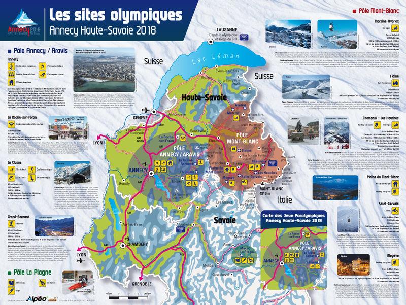 Carte des sites olympiques Annecy 2018