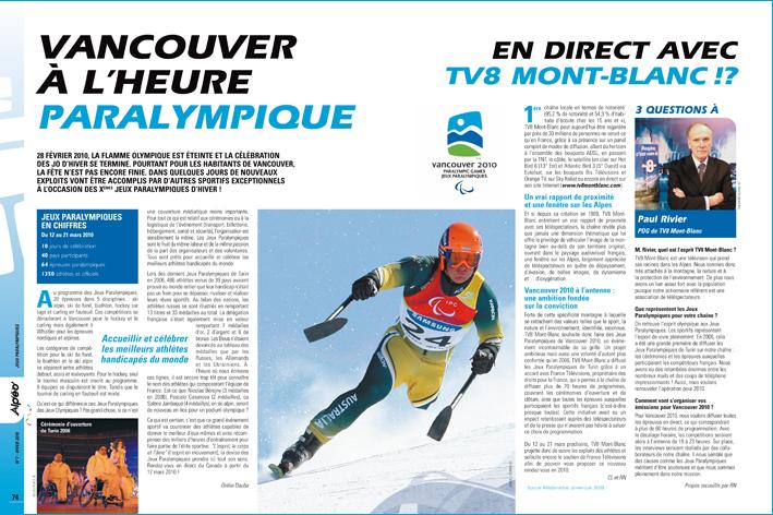 ALPEO 7 article Jeux Paralympiques 2010
