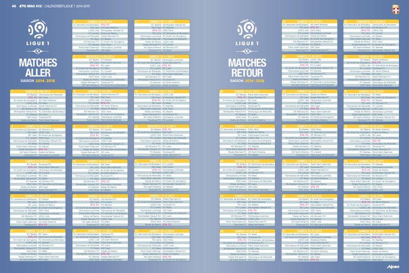 ETG MAG 12 ALPEO Calendrier Ligue 1 2014 2015